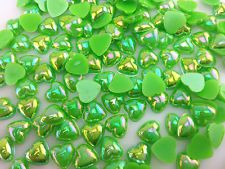 DIY 50pcs Green heart AB Glossy Flatback Resin Cabochon Scrapbooking @85