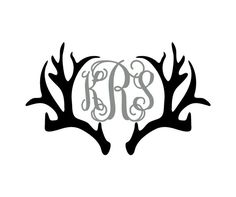 Deer Antlers With Monogram Initials Decal, perfect for yeti tumblers and coolers, cars, laptops, tackle boxes, or any other smooth surface.