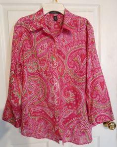 LAUREN RALPH LAUREN Pink Paisley Print Cotton Shirt Size L #LaurenRalphLauren #Blouse