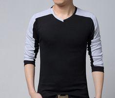 e28a38827fb57 Cheap 2015 moda hombres con estilo Casual Slim Fit de manga larga camiseta  con cuello en