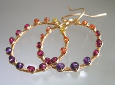 Gemstone Hoops, Gold Filled Earrings, Wire Wrapped, Amethyst, Sapphire, Fiery, Flame, Ombre, Original Design, Signature, Made to Order