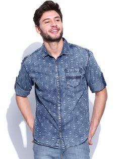 Printed denim shirt with heavy wash