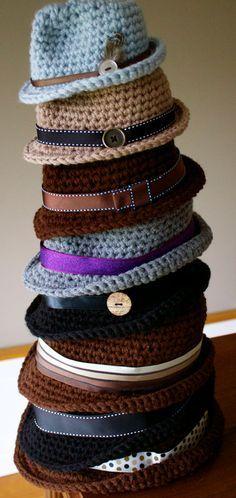 the coolest Crocheted item? PDF Crochet Pattern Classic Fedora by kariodesigns on Etsy Bonnet Crochet, Crochet Beanie, Knitted Hats, Knit Crochet, Crotchet, Crocheted Baby Hats, Crochet Adult Hat, Crochet Twist, Newborn Crochet