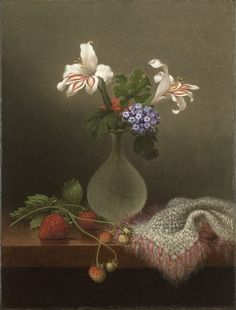 A Vase of Corn Lilies and Heliotrope by Martin Johnson Heade, 1863. Sonia Delaunay, Martin Johnson Heade, Art Magique, Francis Picabia, Hudson River School, Oil Painting Reproductions, Illustrations, American Artists, Still Life