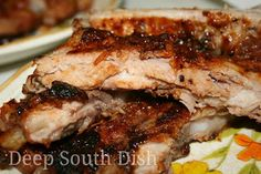 Deep South Dish: Grilled Pork Spareribs or Baby Back Ribs (baked low n slow in oven, flash grilled to finish)