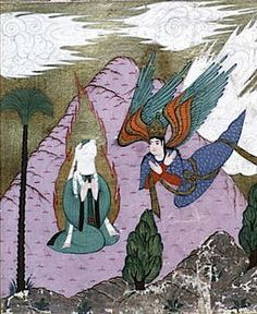The Archangel Gabriel giving the Annunciation to Mohammed, from the 1595 illustrated edition of the Siyer-i Nebi. Topkapi Palace Museum, Istanbul, Turkey.