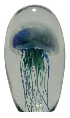 "Amazon.com - Glass Jellyfish Paperweight Blue Green 6"" Glows in the Dark - Statues"