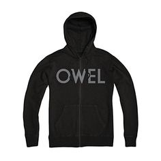 Owel Men's Logo Zippered Hooded Sweatshirt Black - http://bandshirts.org/product/owel-mens-logo-zippered-hooded-sweatshirt-black/