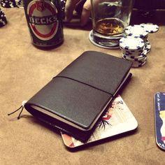 Moose hide traveller's notebook cover by Vormu Bookbinding, Travelers Notebook, Notebooks, Moose, Zip Around Wallet, Cover, Notebook, Mousse, Elk