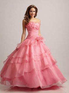 ボールガウン ハンドメイドの花 ベアトップ オーガンジー フロアレングス ウェディングカラードレス
