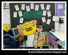 Absolutely LOVE this mystery/detective theme for the classroom  -free printables, all kinds of bulletin board ideas