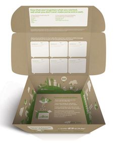 A reusable box designed for ebay, eco friendly. 2d, flat vector illustrations of birds and cities (emphasises how far the box can travel), interactive design allows consumers to leave fun messages to encourage further use of the box.