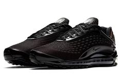 The Nike Air Max Deluxe Black Dark Grey (Style Code: comes dressed in Triple Black/Dark Grey with a release date set for September Nike Air Max Mens, Nike Men, Black Nike Shoes, All Black Sneakers, Ankle Sneakers, Sneakers Nike, Nike Trainers, Nike Shoes Outfits, Sport Outfits