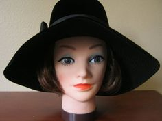 VIntage Black Velvet Wide Brimmed Capotain Hat by NaughtyKittyBags, $40.00