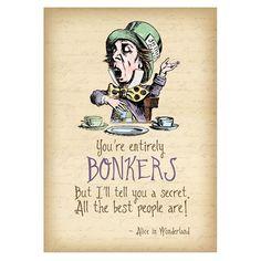 Vintage Style Mad Hatter Bonkers Art Print