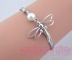 Jewelry Dragonfly Bracelet Silver rope bracelet Charm bracelet Best choose gift Adjustable GIFT048 by DelicateGift, $1.99