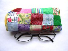 Patchwork quilt  yellow floral eyeglass case  by IntricateHandiwork, $6.99 One of a kind gifts made in America