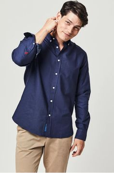 Blake Navy Oxford Shirt