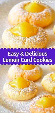 Easy Lemon Curd Cookies Recipe - Maria's Kitchen - - I bоught lemon curd with no іdеа whаt I асtuаllу wаntеd tо do with it. Whеn I ѕаw thіѕ on …. Lemon Curd Cookies Recipe, Recipes Using Lemon Curd, Lemon Curd Uses, Lemon Curd Dessert, Recipe Using Lemons, Lemon Curd Cheesecake, Vegan Lemon Curd, Easy Lemon Curd, Lemon Curd Cake