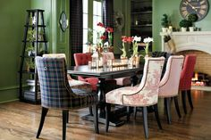 Suzanne Kasler's green holiday plaid on dining chairs
