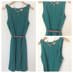 "Merona Belted Dress Fit and flare dress from Merona. Green and navy stripe pattern. Side pockets, belt, and darting throughout make a great shape! Zipper closure in back. 37"" long shoulder to hem. Worn a couple times, like new! Merona Dresses"