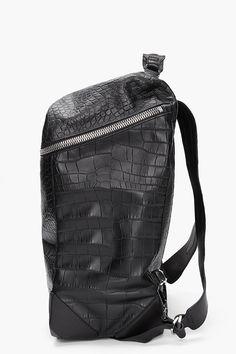 aee1d56171b1 ALEXANDER WANG Black Croc Embossed Leather Wallie Backpack