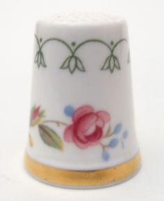 Royal Doulton England Pink Rose Bone China Thimble for Franklin Mint 1980s WGPH | eBay