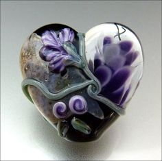 PURPLE AND BLACK Floral Heart Glass Bead by beadsbystephanie, $36.00
