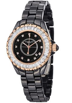Stuhrling Original 530S2.114OB1, This ceramic bracelet watch is classy and eye catching. The watch features Swarovski crystals on the bezel and dial. This women's timepiece is closed with a deployment clasp.