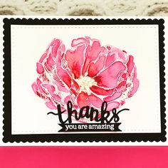 Hero Arts Antique Rose And Stamp & Cuts Thanks watercolored in pinks and a touch gold . I've been a busy little Crafter today lol. You Are Amazing, Antique Roses, Hero Arts, Flora, Card Making, Greeting Cards, Thankful, Touch, Rubber Stamping