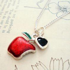 Snow White Necklace Poisoned Apple Fairytale by MissMaryElliott, $12.00