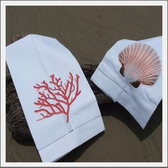 seashell guest towels...have the coral ones in my bath.........love these embroidered guest towels