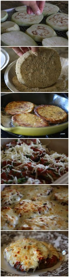 Eggplant Parmesan. Easy version use jarred spaghetti or marinara sauce of our choice.