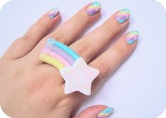 Pastel Rainbow Nails with Matching Ring fashion nails rainbow ring pastel polish manicure
