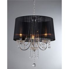 @Overstock.com.com - Crystal Black Silk Chandelier - This contemporary Crystal Black Silk Chandelier has a lovely shade to create a soft light. The gorgeous lighting element is a modern take on a classic style.  http://www.overstock.com/Home-Garden/Crystal-Black-Silk-Chandelier/6739597/product.html?CID=214117 $133.99