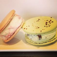 Macaron ice cream sandwiches at Artisan Gelato by #NormanLove! Try the Mint Chocolate Chip and Cherry Vanilla flavors featured here or choose your own gelato flavor!