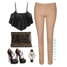 Go simple yet glam with neutrals paired with a leatherette top. The variety in texture gives a unique look and makes the outfit standout. Accessorize minimally and you're ready for the night out with the girls! www.dressi.ly