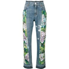 Dolce & Gabbana studded hydrangea jeans (57,415 MXN) ❤ liked on Polyvore featuring jeans, blue, zip jeans, high waisted button jeans, print jeans, stitch's jeans and dolce gabbana jeans