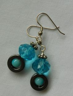 Handmade Earrings Hematite Ring Beads Blue Faceted Crystal and Silver Beads 2014 Sold