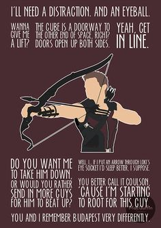 Hawkeye is one of my favourite avengers and it makes me sad that he doesn't have as much merch as the others - Visit to grab an amazing super hero shirt now on sale! Marvel Avengers, Avengers Quotes, Marvel Quotes, Marvel Funny, Marvel Dc Comics, Marvel Heroes, Thor Quotes, Avengers Poster, Comics