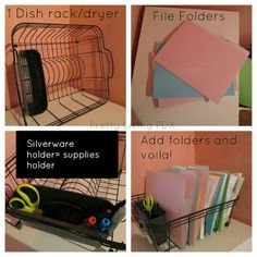 Here's a great idea for organizing file folders in dish rack!