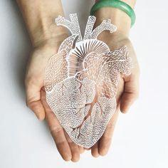 A paper cutting artist who uses an x-acto knife to carefully cut creations out of paper. He has created detailed artistic hand cut anatomical organs. Paper Cutting, 3d Laser Printer, Laser Cut Paper, Herz Tattoo, Paper Cut Design, Medical Art, Anatomical Heart, Paper Artwork, Anatomy Art