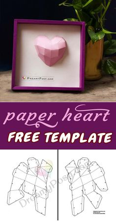 43 Super Ideas For Origami Tutorial Heart Projects Origami Paper Art, 3d Paper Crafts, Paper Toys, Paper Gifts, Diy Paper, Origami Lotus Flower, Origami Heart, Picture Frame Template, Paper Picture Frames