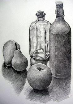 Stillleben - Still Life References (Drawings) - Kunst Pencil Art Drawings, Art Drawings Sketches, Still Life Sketch, Easy Still Life Drawing, Art Du Croquis, Still Life Artists, Fruits Drawing, Object Drawing, Metal Drawing