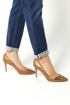 Venda The Shoes Week / 20713 / Sapatos de salto / Sapatos de salto de couro Dourado - Gino Rossi