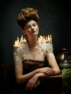 A Lush Photo Series Inspired by Baroque Paintings - Helen Sobiralski Photography candles melting on shoulders. Portrait Photography, Fashion Photography, Photography Lighting, Editorial Photography, Photography Ideas, Photography Portfolio, Portrait Editorial, Modern Photography, Photography Outfits