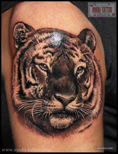 Realistic Tiger - You want a Chinese zodiac tattoo design for tiger? Then this tiger design is definitely for you. #TattooModels #tattoo