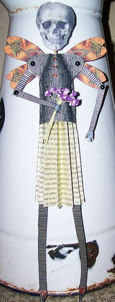 Skellie paper art doll by ann divelbiss..GONE FOR A WHILE, via Flickr