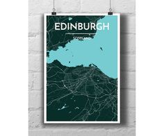 Edinburgh Scotland  City Map Print by PointTwoMaps on Etsy