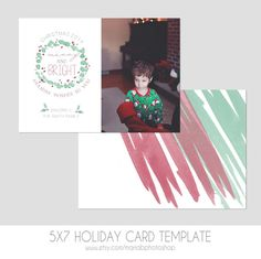 5x7 Christmas Card Template   Front and Back  by MariaBPaints